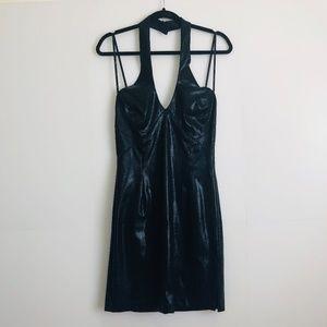 Cache Black Shiny Snakeskin Print Halter Dress 8